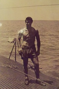 Image of Ralph Clark Huston, Jr. on deck of the Cobia.